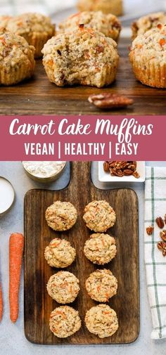 These vegan carrot cake muffins are soft and delicious, studded with shredded carrots and pecans. They're a great breakfast for busy mornings! #vegan #breakfast Carrot Cake Muffins, Vegan Carrot Cakes, Healthy Breakfast Muffins, Savory Muffins, Shredded Carrot, Make Ahead Meals, Vegan Baking, Vegan Recipes Easy, Cookie Recipes