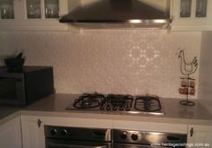 DIY splashback project using pressed metal panels. Lots of photos to see. Metal Panels, Pressed Metal, New Kitchen, Metal, Pressed Tin Splashback, Home Kitchens, Kitchen Reno, Splashback, Home Reno