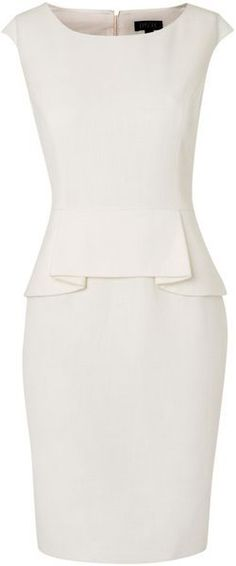 Episode Peplum Detail Dress in White (ivory) | Lyst