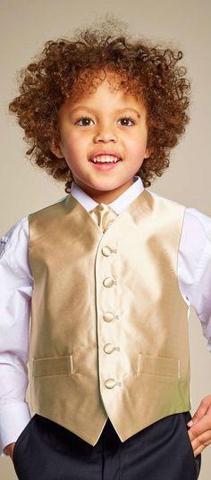 321274f80 ROMANO VIANNI Boys Gold Satin Waistcoat & Adjustable Tie Set. Perfect  look