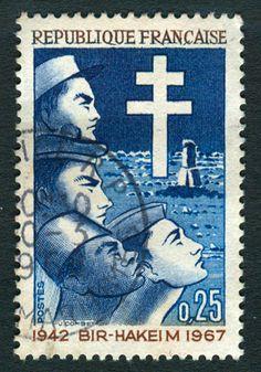 Timbre collection France années 60 Bir-Hakeim 1942-1967 0,25 F