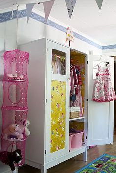 make an old wardrobe fancy with pretty wallpaper on the front and inside. Cute idea for either a kids rook or you could make it elegant for an adult!