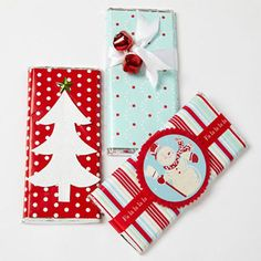 Christmas Candy Bars -These candy bars will make yummy presents under the tree. Wrap each bar in patterned paper. Instead of bows, top the presents with holiday die cuts, seasonal paper piecings, or even jingle bells.