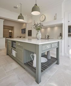 Shaker Kitchens   Traditional & Contemporary Kitchens   Tom Howley Sage Kitchen, Green Country Kitchen, Grey Shaker Kitchen, Green Kitchen Island, Shaker Style Kitchen Cabinets, Modern Country Kitchens, Green Kitchen Cabinets, Country Kitchen Designs, Shaker Style Kitchens