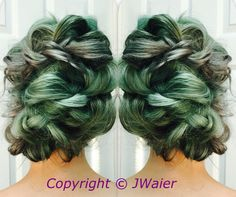 Mint green and silver updo