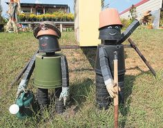 Flower Pot People...use those old plastic pots you get from the nursery when you buy your plants