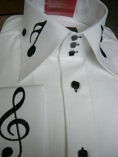 Musical Note High Collar Shirt.  www.MorCouture.com