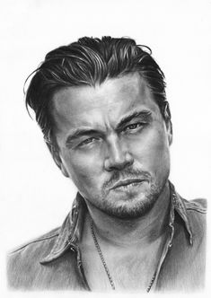 Art by Tarsanjp Leonardo DiCaprio Cool Pencil Drawings, Dark Art Drawings, Amazing Drawings, Realistic Drawings, Portrait Sketches, Pencil Portrait, Portrait Art, Art Sketches, Celebrity Drawings