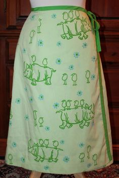 Vintage 70s The Vested Gentress Green Rhino & Bird Novelty Wrap Skirt Fits XS #TheVestedGentress