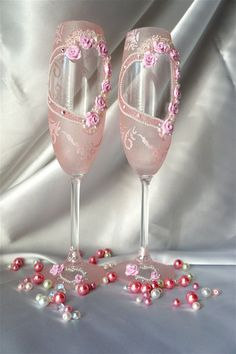 Wedding Champagne Glasses for Wedding with Heart by Alantida, $68.00