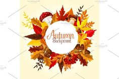 Autumn leaf, mushroom and forest berry poster. Illustrations
