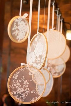 rustic lace embroidery hoops wedding decor ideas