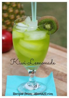 Kiwi Lemonade: 1/2 C sugar, 1/2 C water, 1 C kiwi (peeled), 3 C cold water, 1/2 C fresh lemon juice, 6 C ice cubes. Squeeze lemon juice, puree peeled kiwi and pour contents into a strainer. In saucepan, add sugar & 1/2 C water heat on med until sugar dissolves. Remove from heat & stir in other 3 C cold water & lemon juice. Divide ice between 12 glasses 7 add a few spoonfuls of puree, then top with lemonade Gently stir before serving.