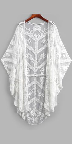 Sheer Mesh Batwing Embroidered Cover-up - Sheer Mesh Batwing Embroidered Cover-up Cover-Up Type: Top Gender: For Women Material: Polyester Pattern Type: Solid Decoration: Embroidery,See Thru - Kimono Shrug, Chiffon Kimono, Plus Zise, Mode Chanel, Boho Beautiful, Girls Bathing Suits, Swimwear Cover Ups, Dresses For Teens, Latest Fashion For Women