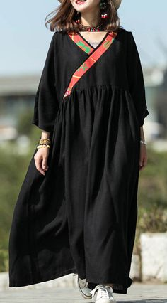 Modern black silk linen Long dress v neck patchwork Maxi summer Dress Beach Wear Dresses, Casual Dresses, Summer Dresses, Linen Dresses, Maxi Dresses, Abaya Mode, Mode Hijab, Maxi Robes, Bodycon Dress Parties