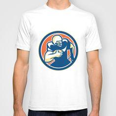 American Football Player Running Circle Retro T-shirt