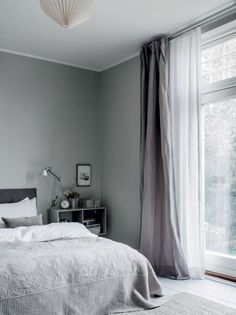 Photographed by Chris Tonnesen for Elle Decoration Denmark Danish interior stylist Cille Grut& home is a mix of different shades of gray and beige colours also known as Gray Bedroom, Trendy Bedroom, Home Bedroom, Bedroom Decor, Bedroom Romantic, Grey Curtains Bedroom, Bedroom Ideas, Bedroom Inspo, Bedroom Modern