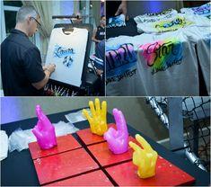 Bar Mitzvah Party Entertainment - Airbrush Artist & Wax Hands Station {A Magic Moment} - mazelmoments.com