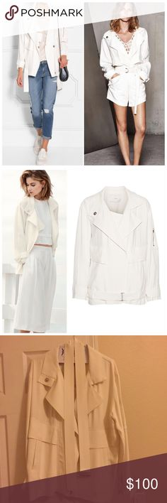 Iro Dixia white jacket with belt 36 Dixia Iro oversized jacket, size 36. Would fit size small for the oversized look like the model (model is wearing size 36). Just dry cleaned and ready to wear, worn twice. IRO Jackets & Coats