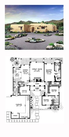 adobe style cool house plan id chp 49288 total living area 2276 - Southwestern Adobe Style House Plans
