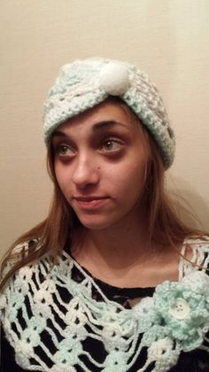 Crocheted  Button Cloche with matching Scarf