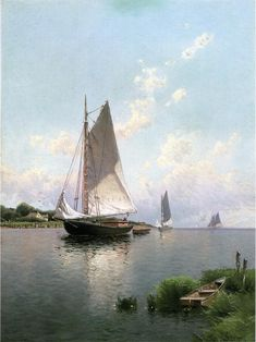 """athousandwinds: """" Blue Point, Long Island, 1888, oil on canvas by Alfred T. Bricher, American, 1837-1908. Private Collection. Bricher was associated with White Mountain art of New Hampshire and the..."""