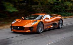 Download wallpapers Jaguar C-X75, 2017, orange sports coupe, racing cars, British sports cars, Jaguar