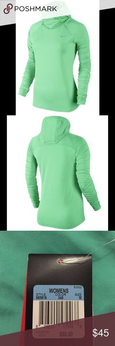 NWT Nike Dri-Fit Element Hoodie Dri-FIT fabric wicks away sweat to keep you feeling dry and fresh. Fitted scuba hood stays in place while you're running without limiting your view. Mesh chin, side, and back panels for extra breathability. Zippered shoulder pockets for small item storage. Dri-FIT® 89% polyester/11% spandex. Imported. Nike Tops Sweatshirts & Hoodies
