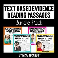 Over 160 reading passages for the ENTIRE year! This reading comprehension bundle pack includes all four of my seasonal Text Based Evidence Reading Passages in one discounted bundle! Small Group Reading, Reading Club, Reading Passages, Reading Strategies, Reading Skills, Teaching Reading, Reading Comprehension, Close Reading, Learning