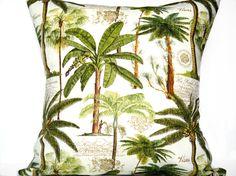 Palm Trees Pillow Cover Tropical Green Brown Mocha Beige Script Decorative Repurposed 18x18