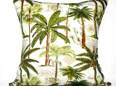 Palm Trees Pillow Cover Tropical Green Brown Mocha Beige Script Decorative Repurposed 18x18