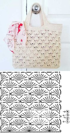 Knit (or crochet) a bag. Would be nice for a reserved weekend or a vacation bag. - Fashionable bags - Escolha e copy: Modelos de Bolsa summer bag ⋆ De Frente Para O Mar. Learn to crochet Christmas tr - Crochet Market Bag, Crochet Handbags, Crochet Purses, Knit Or Crochet, Crochet Bags, Crochet Beach Bags, Crochet Summer, Crochet Flowers, Crochet Diagram