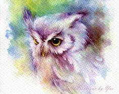 Colour, detail, cuteness, EVERYTHING! Drucken – Baby Eule Aquarellzeichnung x Owl Watercolor, Watercolor Sketchbook, Watercolor Animals, Watercolor Paintings, Tattoo Watercolor, Owl Art, Bird Art, Motif Art Deco, Urbane Kunst