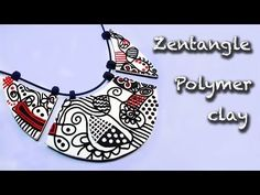 ▶ Polymer clay tutorial. How to make a Zentangle necklace. - YouTube
