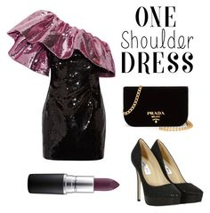 """""""Purple and Black"""" by ember-violet ❤ liked on Polyvore featuring Yves Saint Laurent, Jimmy Choo, Prada and MAC Cosmetics"""