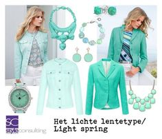 A fashion look from December 2017 featuring blazer jacket, green blazers and bezel jewelry. Browse and shop related looks. Light Spring Palette, Spring Color Palette, Spring Colors, Bright Spring, Warm Spring, Lit Outfits, Spring Outfits, Green Outfits, Color Type