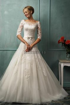 Bateau Half Sleeves Lace Princess Sash Wedding Dress
