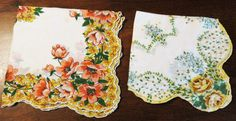 Hankie Set of (2) Decorative Ladies Accessories, Pretty Flower Hankies, Scalloped Trim Hanky, Vintage Handkerchiefs, Multicolored Hankies by GinnysGirlsTreasures on Etsy