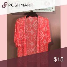 Aztec kimono Orange/white Aztec kimono//size S Tops Blouses