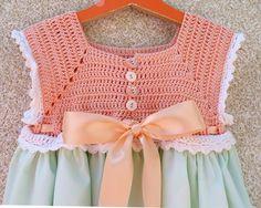 Toddler Flower Girl or Birthday Sundress - Light Peach and Green Crochet Bodice Sundress Size 3T-4T (SUND121)