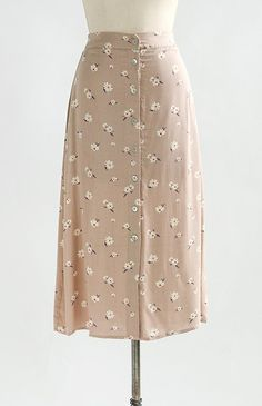 Vintage Inspired Skirt / Feminine Floral Midi Skirt / Fleurs For Emma Skirt