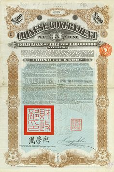 Chinese Government (Crisp, Kuhlmann 272) 30 September 1912, 5 % Gold Loan of 1912 of £ 500, Serie C, #835, 45.4 x 30.5 cm, brown, turquoise, white, black, folds, dirty, some coupons remaining, only 2,000 bonds were issued!