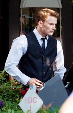 """Chris Evans on the set of """"Captain America: Civil War"""" in Atlanta, May 15, 2015"""