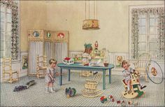 1918 Armstrong Linoleum - Nursery Source: 1918 Delineator From the Antique Home Style collection.