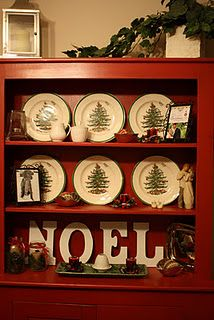 Christmas hutch and Christmas Tree plates similar to ours that are from the late 40's or early 50's