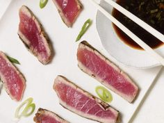 Tuna Steak with Asian Dipping Sauce http://www.prevention.com/food/cook/heart-healthy-fish-recipes/tuna-steak-asian-dipping-sauce