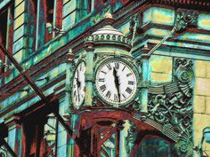 """""""marshall fields clock Chicago"""" by Jane Schnetlage, Tennessee // The Marshall Fields clock in downtown Chicago.  // Imagekind.com -- Buy stunning, museum-quality fine art prints, framed prints, and canvas prints directly from independent working artists and photographers."""