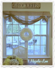 Ideas for kitchen window valance diy master bath Kitchen Window Dressing, Kitchen Window Valances, Kitchen Curtains, Kitchen Windows, Farmhouse Curtains, Window Blinds, Wood Blinds, Burlap Window Treatments, Farmhouse Window Treatments