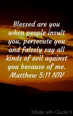 Blessed are you when people insult you. Matthew 5:11 NIV