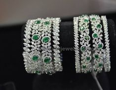 Diamond Emerald Bangles by Hazoorilal
